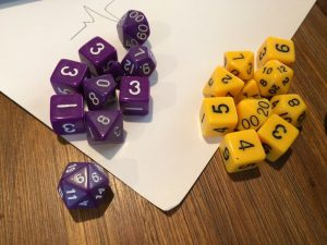The dice covered everything from four d6 for ability scores, to percentile dice.