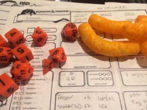 Proof that D&D was played by one of our new players. Cheetoh-stains and all.