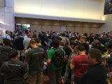 People waiting to get in Exhibit Hall