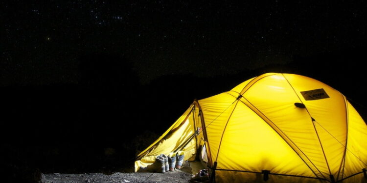 Dome tent, lit from within