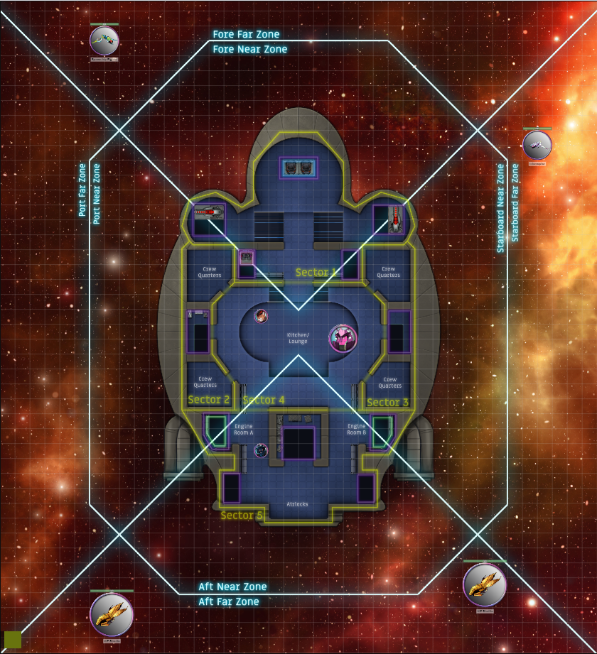 The image displays the ship interior as well as the battlefield to run spaceship combat with ease