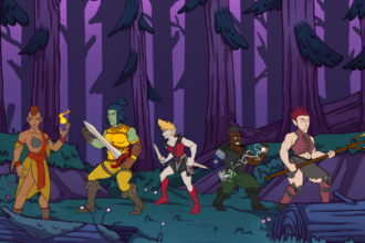 a scene of five characters ready to fight