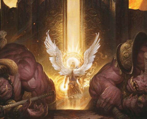 The image shows an angel with its bright wings wide open opening a giant gate. Radiant light pours out from it and one demon kneels defeated on each of the sides of the gate